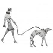 lady walking dog brooch