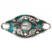 art nouveau silver and enamel brooch