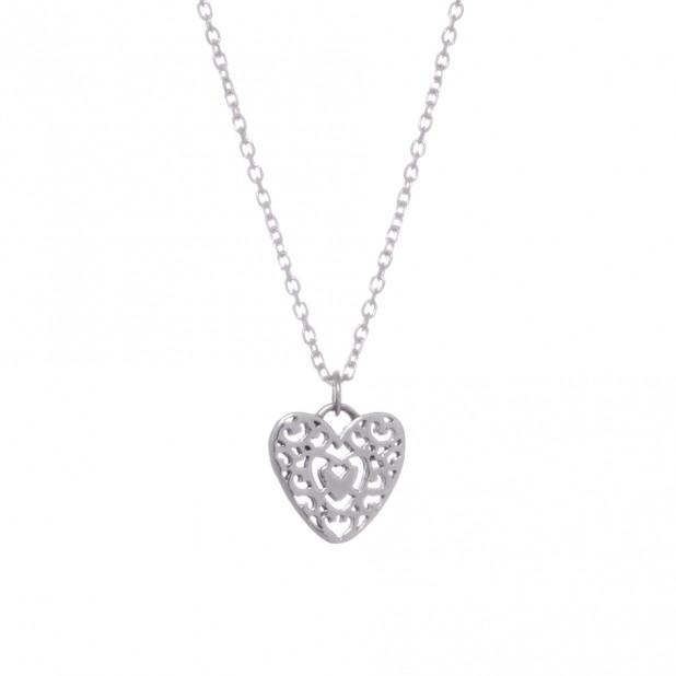 silver filagree heart pendant