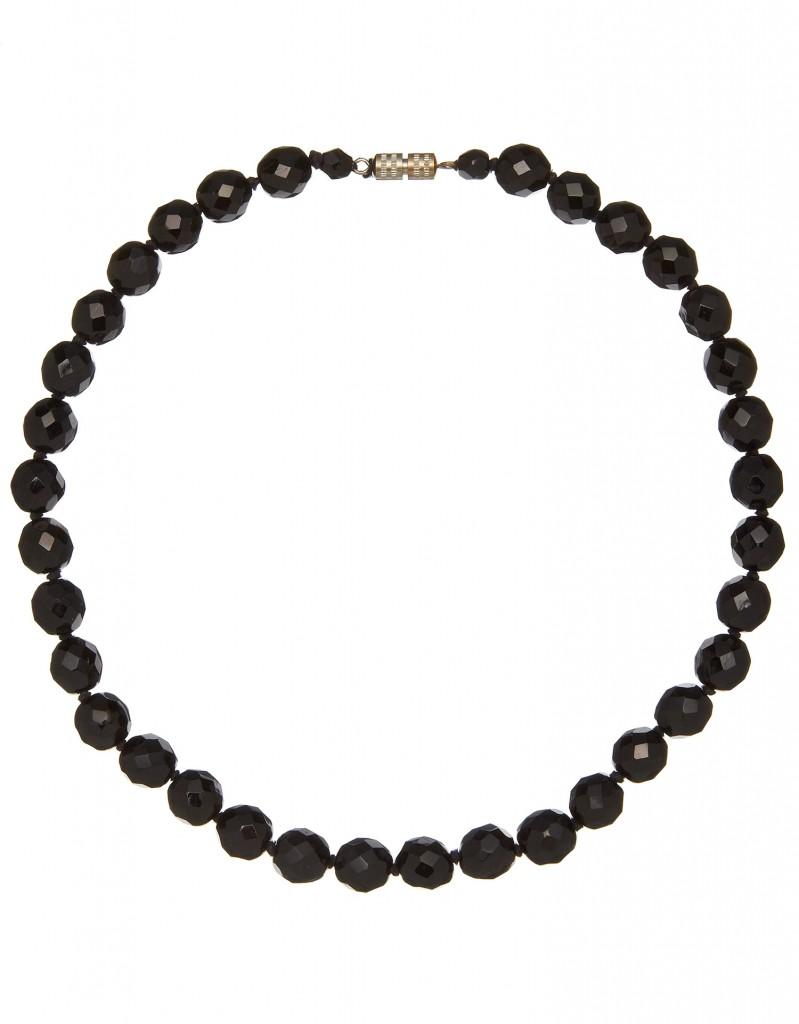 black glass faceted necklace vintage